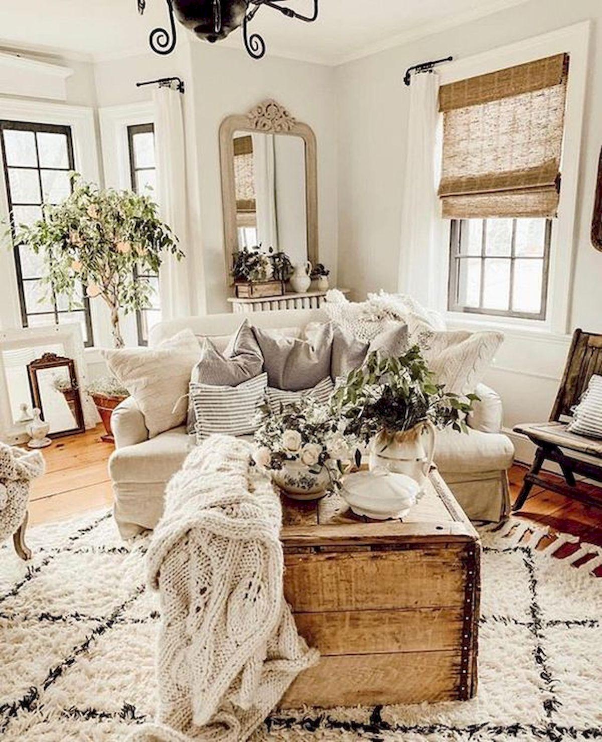 50 Cozy Farmhouse Living Room Design And Decor Ideas (17