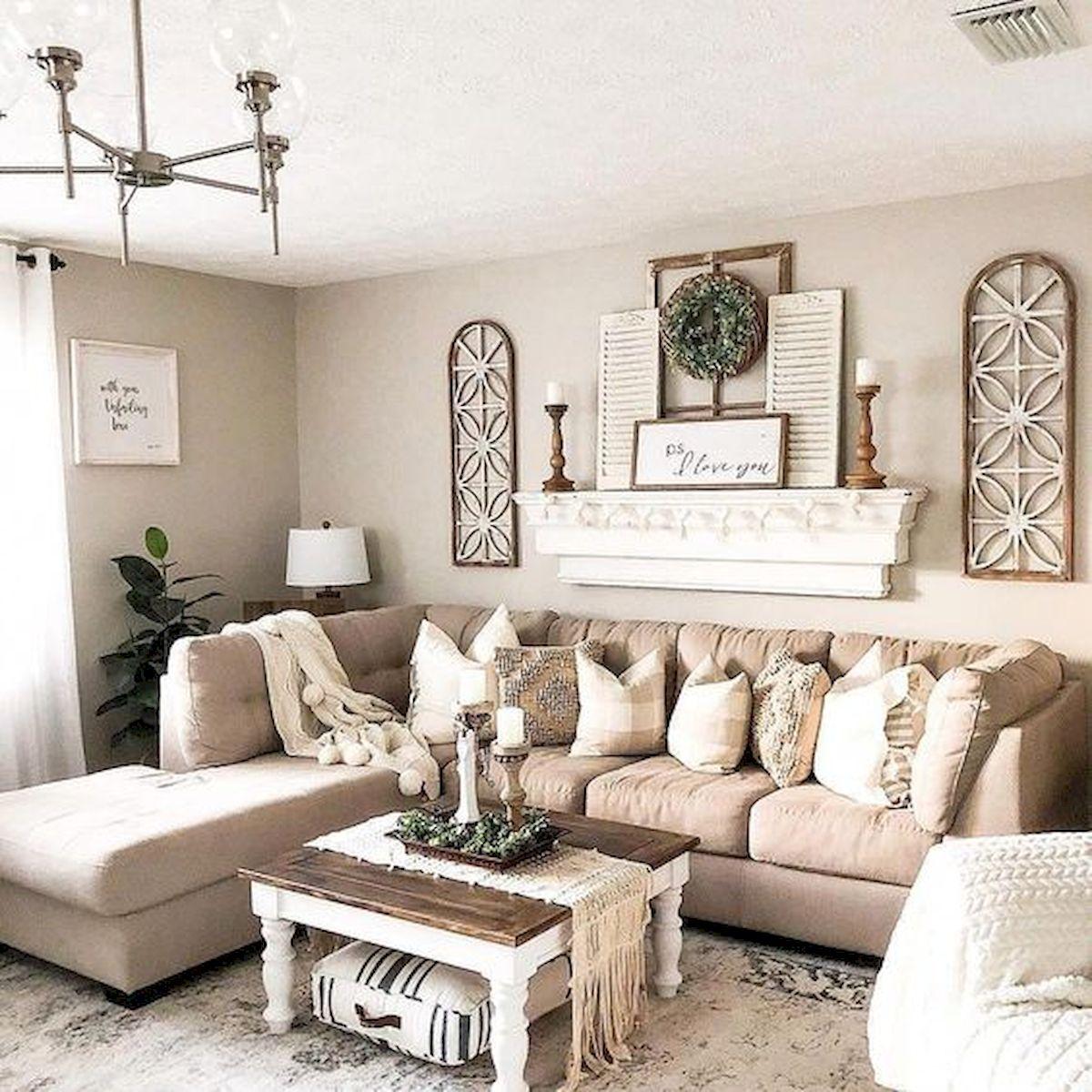 50 Cozy Farmhouse Living Room Design and Decor Ideas (18)