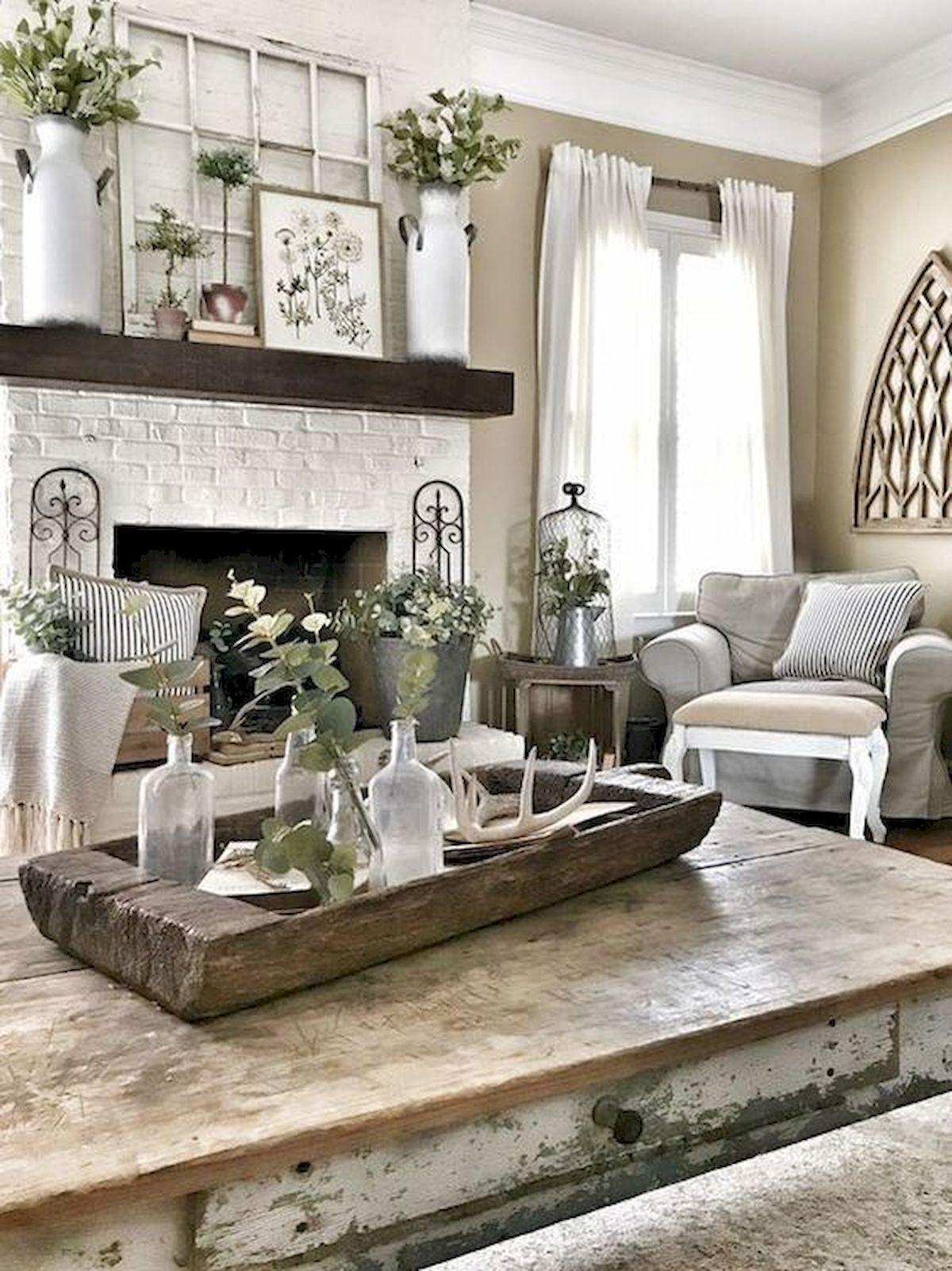 50 Cozy Farmhouse Living Room Design and Decor Ideas (23)