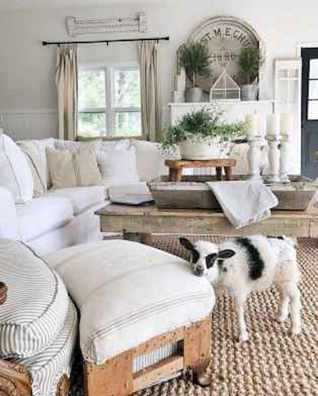 50 Cozy Farmhouse Living Room Design and Decor Ideas (26)