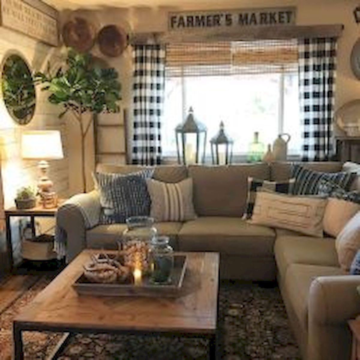 50 Cozy Farmhouse Living Room Design and Decor Ideas (28)