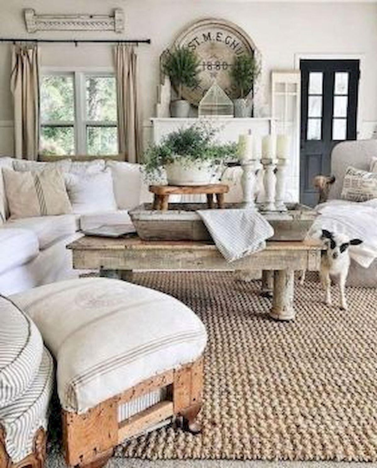 50 Cozy Farmhouse Living Room Design and Decor Ideas (31)