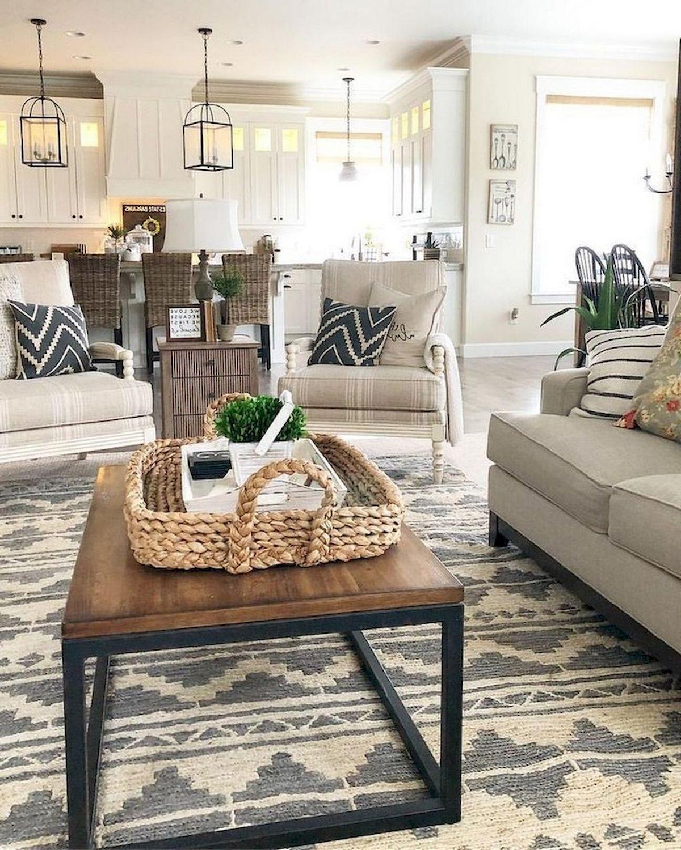 50 Cozy Farmhouse Living Room Design and Decor Ideas (38)