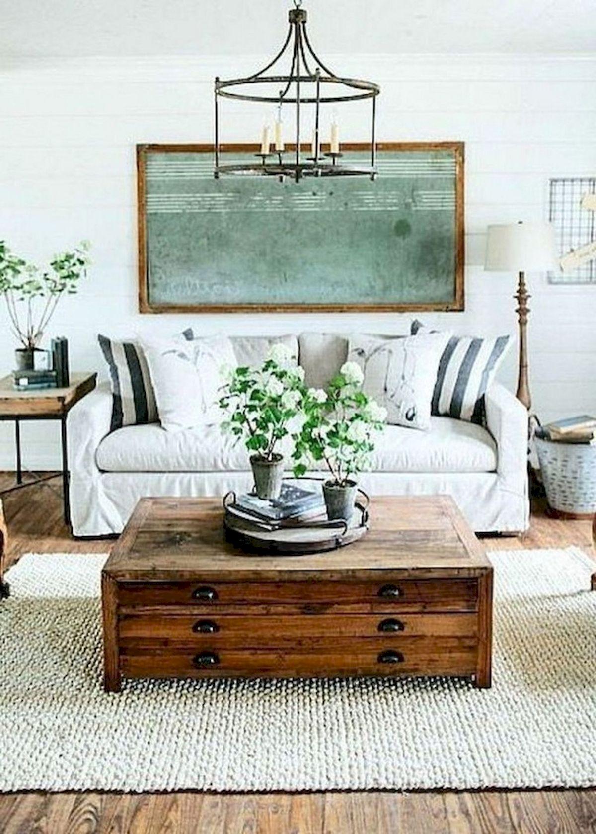 50 Cozy Farmhouse Living Room Design and Decor Ideas (39)