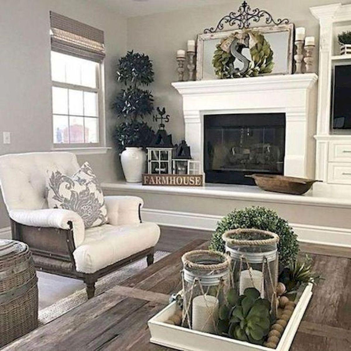50 Cozy Farmhouse Living Room Design and Decor Ideas (7)