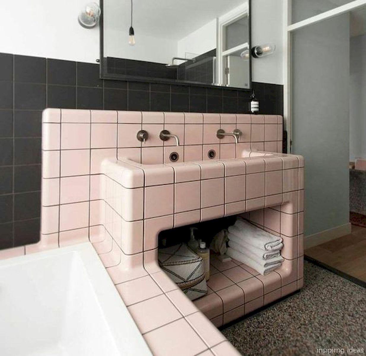 66 Cool Modern Farmhouse Bathroom Tile Ideas (2)