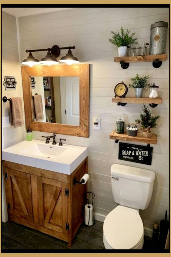 20 Best Farmhouse Bathroom Lighting Decor Ideas (16)