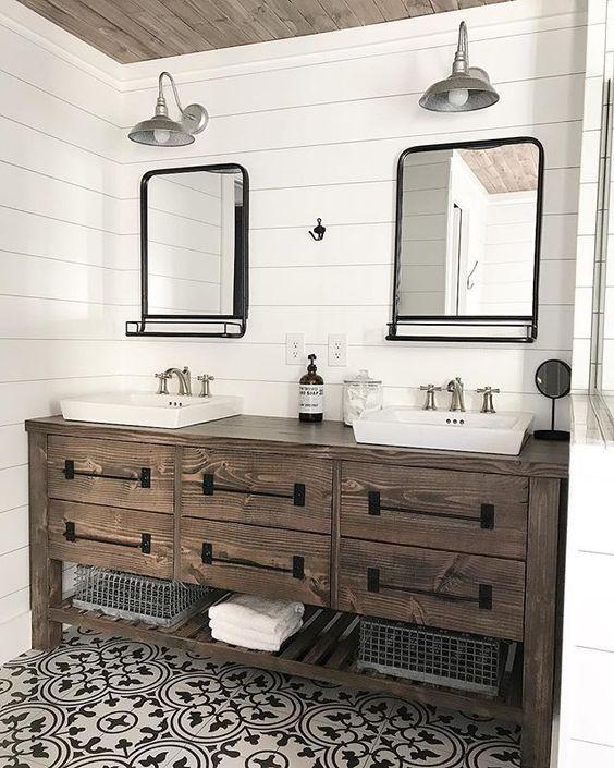 20 Best Farmhouse Bathroom Lighting Decor Ideas (6)