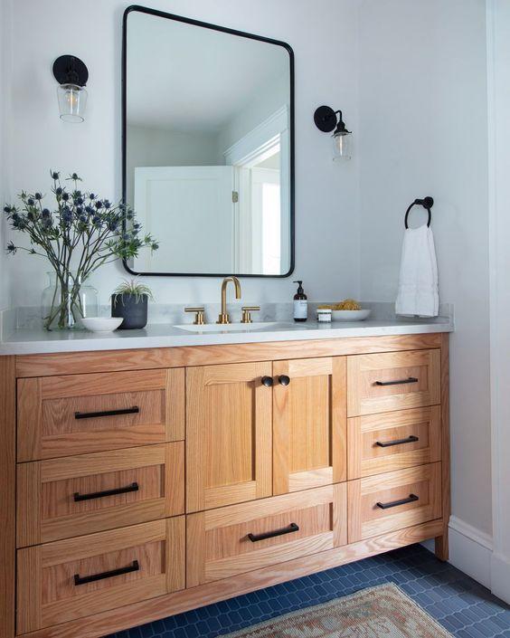 20 Best Farmhouse Bathroom Tile Decor Ideas (18)