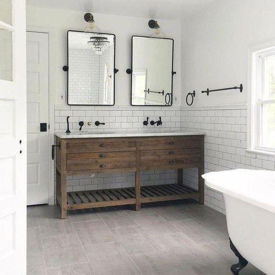 20 Best Farmhouse Bathroom Tile Decor Ideas (2)
