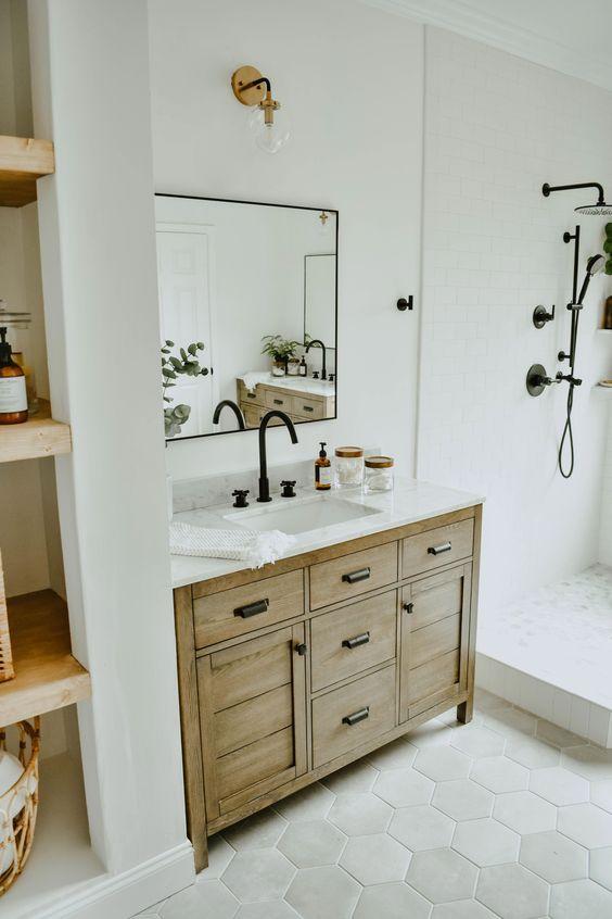 20 Best Farmhouse Bathroom Vanity Decor Ideas (4)