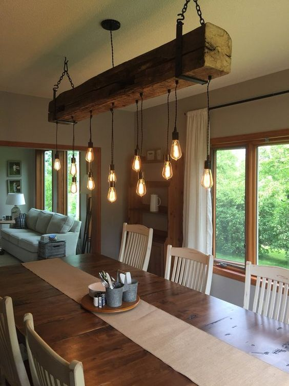 20 Best Farmhouse Dining Room Lighting Decor Ideas (15)