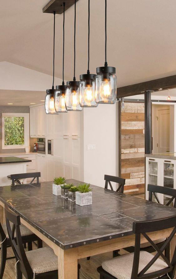 20 Best Farmhouse Dining Room Lighting Decor Ideas (18)