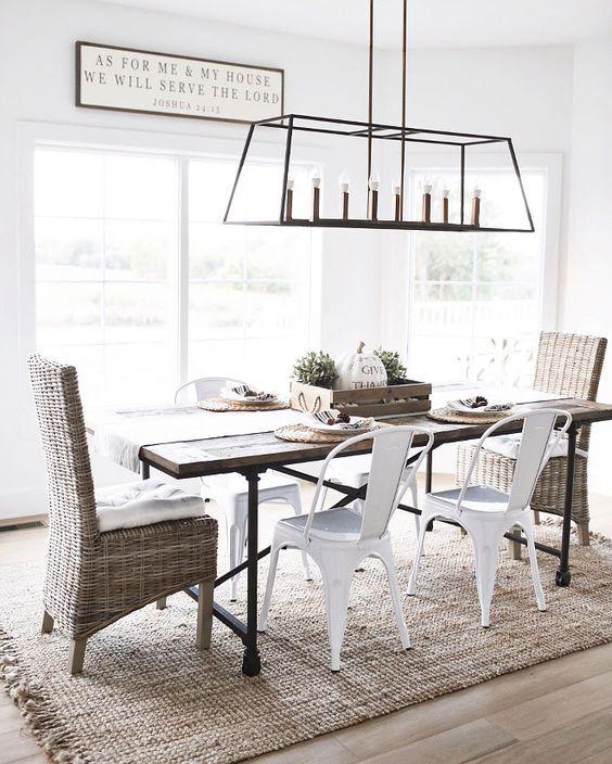 20 Best Farmhouse Dining Room Lighting Decor Ideas (7)