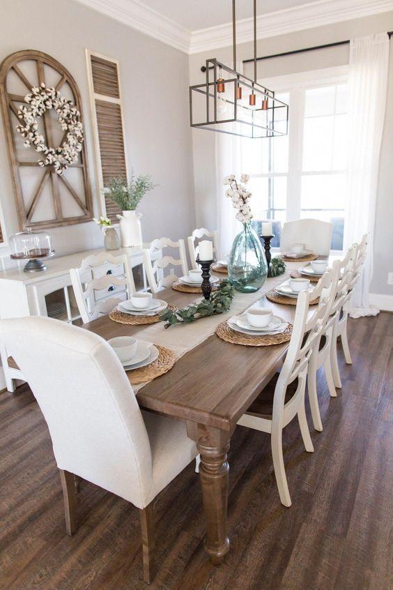 20 Best Farmhouse Dining Room Table Decor Ideas (10)