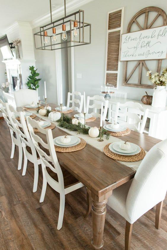 20 Best Farmhouse Dining Room Table Decor Ideas (8)