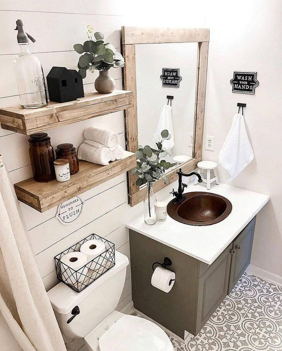 20 Best Small Farmhouse Bathroom Decor Ideas (6)