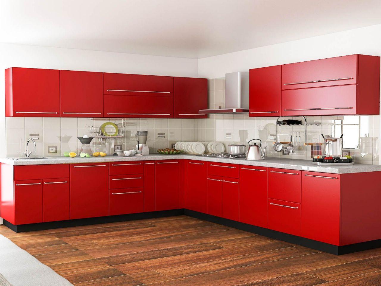 Beautiful  Modular Kitchen Design Red And White