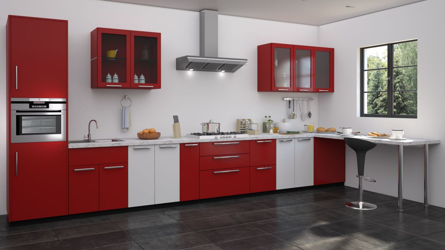 Awesome Modular Kitchen Design Red And White