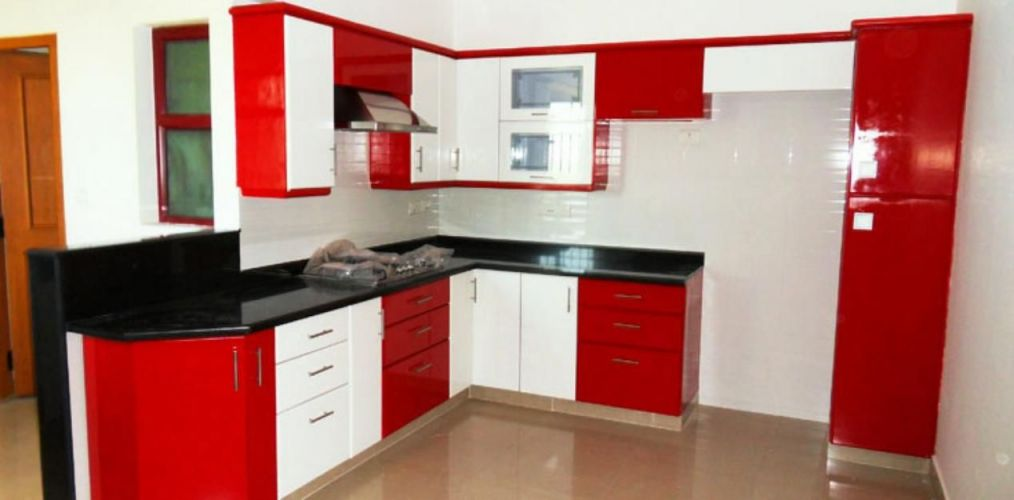Amazing  Modular Kitchen Design Red And White