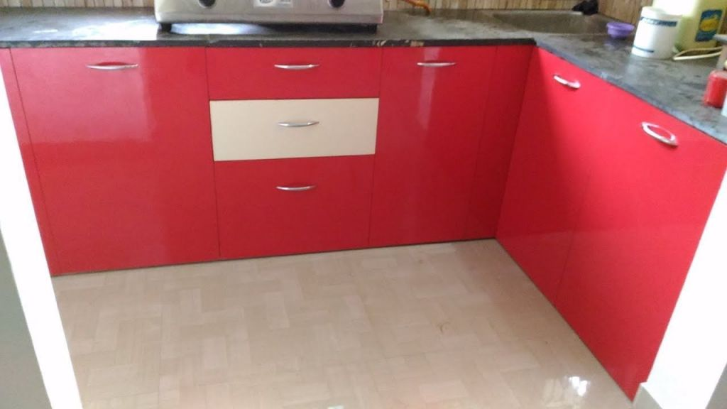 Adorable Modular Kitchen Design Red And White