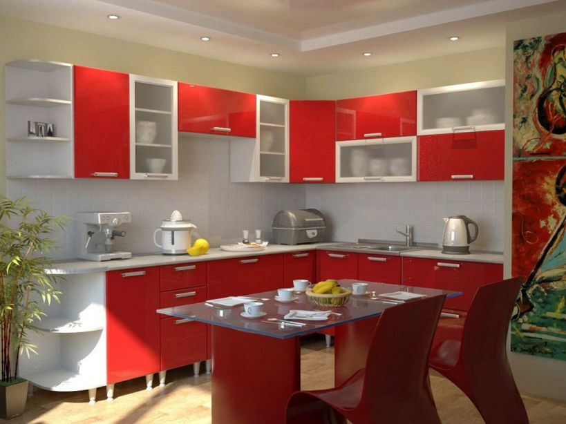 Cool  Modular Kitchen Design Red And White